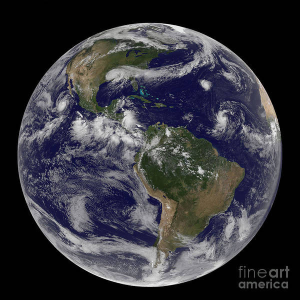 Photograph - Full Earth Showing Various Tropical by Stocktrek Images