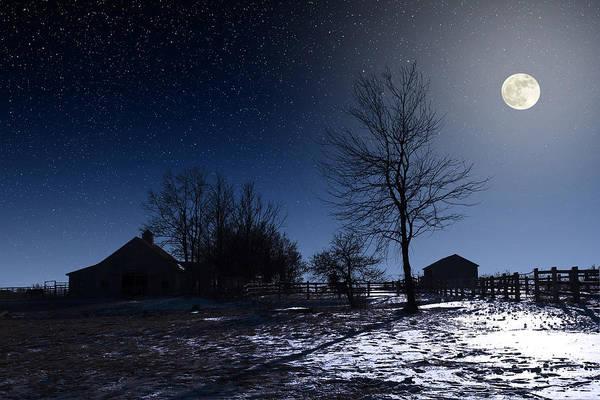 Photograph - Full Moon And Farm by Larry Landolfi