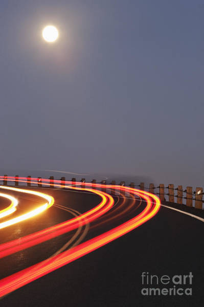 Time Exposure Wall Art - Photograph - Full Moon Over A Curving Road by Jetta Productions, Inc