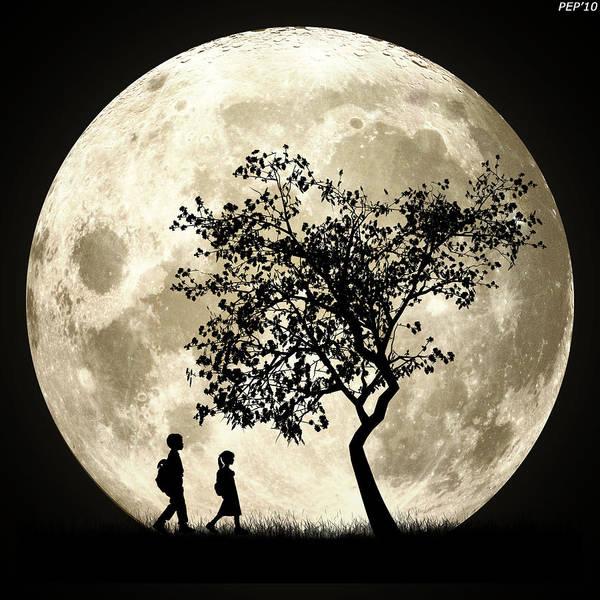 Wall Art - Digital Art - Full Moon by Phil Perkins