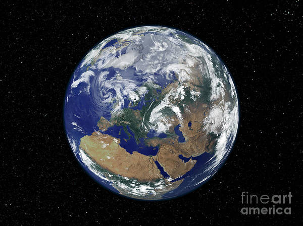 Photograph - Fully Lit Earth Centered On Europe by Stocktrek Images