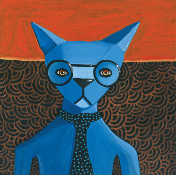 Wall Art - Painting - Funky Blue Cat by Mike Lawrence