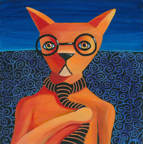 Wall Art - Painting - Funky Orange Cat by Mike Lawrence