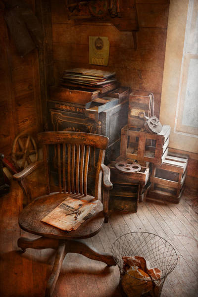 Photograph - Furniture - Chair - The Engineers Office by Mike Savad