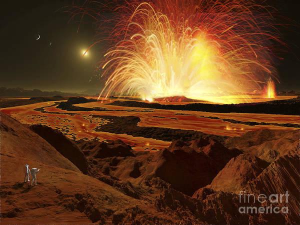 Color Burst Digital Art - Future Astronauts Observe An Eruption by Ron Miller
