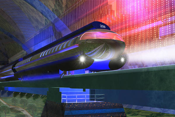 Highrise Digital Art - Future Train by Carol and Mike Werner