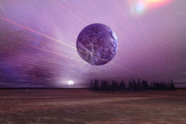 Planets And Moons Digital Art - Futuristic Landscape by Carol and Mike Werner
