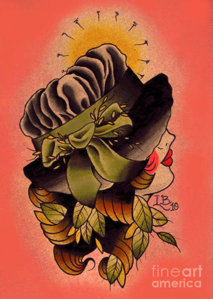 Tattoo Flash Painting - Gabes Girl by Lauren B
