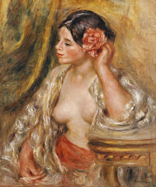 Looking Up Painting - Gabrielle A Sa Coiffure by Pierre Auguste Renoir