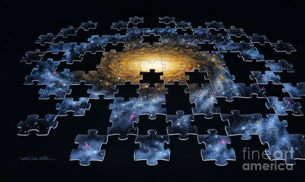 Missing Painting - Galaxy Puzzle by Lynette Cook
