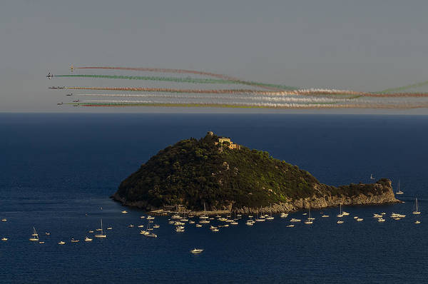 Photograph - Gallinara Island And Colored Air Show by Enrico Pelos