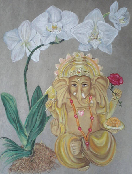 Ganesh Drawing - Ganesh Dancing Under Orchids by Ann Marie Napoli