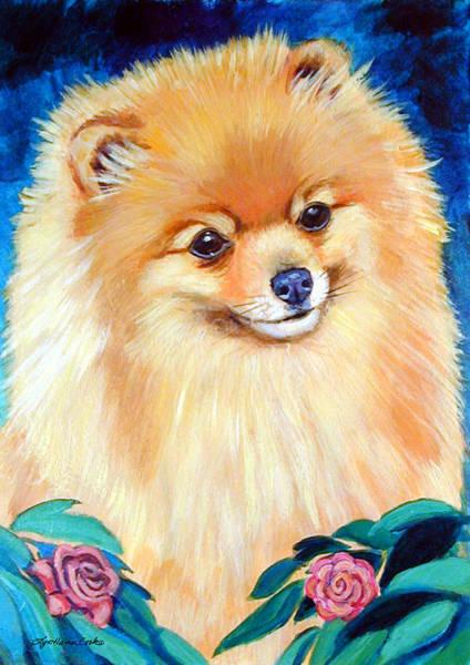 Pomeranian Painting - Garden Bud - Pomeranian  by Lyn Cook