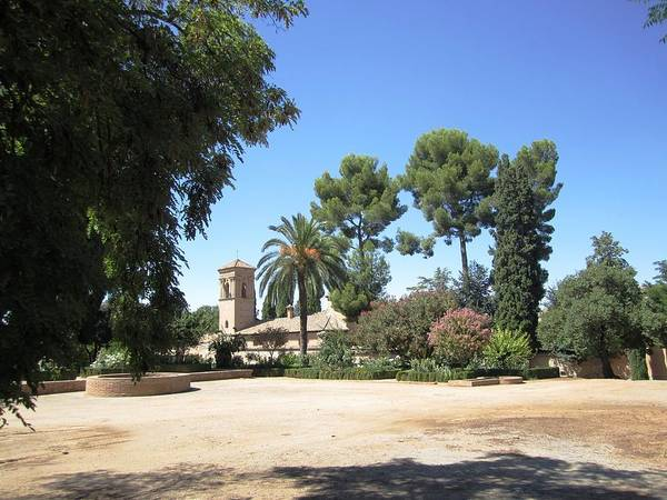Photograph - Garden Courtyard At Alhambra Granada Spain by John Shiron