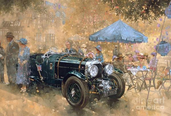 Old Car Wall Art - Painting - Garden Party With The Bentley by Peter Miller