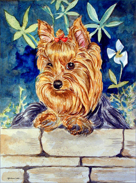 Yorkie Wall Art - Painting - Garden Sprite - Yorkshire Terrier by Lyn Cook