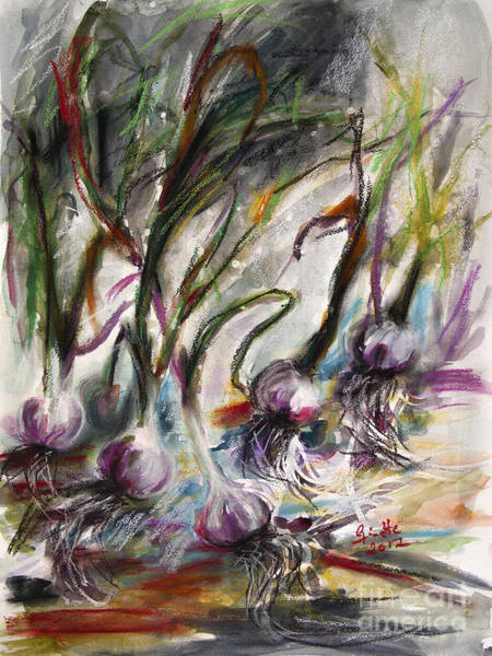 Painting - Garlic Watercolor And Pastel By Ginette by Ginette Callaway