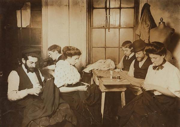Dress Form Photograph - Garment Workers Sewing By Hand by Everett