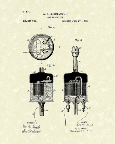 Wall Art - Drawing - Gas Regulator 1882 Patent Art by Prior Art Design