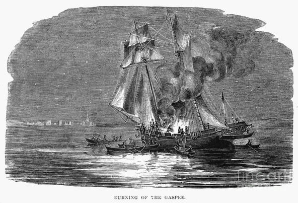 Royal Colony Photograph - Gaspee Burning, 1772 by Granger