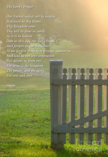 Diffuse Photograph - Gate In Morning Fog With Lord's Prayer by Olivier Le Queinec