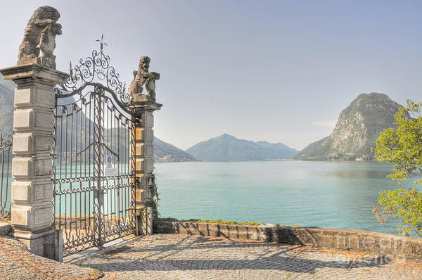 Gate On The Lake Front Art Print