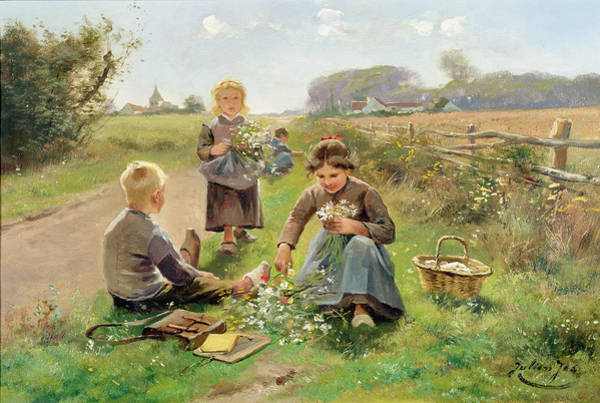 Bunch Painting - Gathering Flowers by Joseph Julien