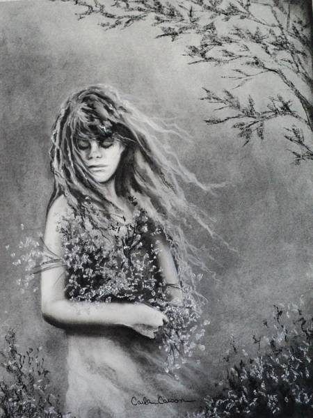 Wild Flowers Drawing - Gathering Spring Wildflowers by Carla Carson