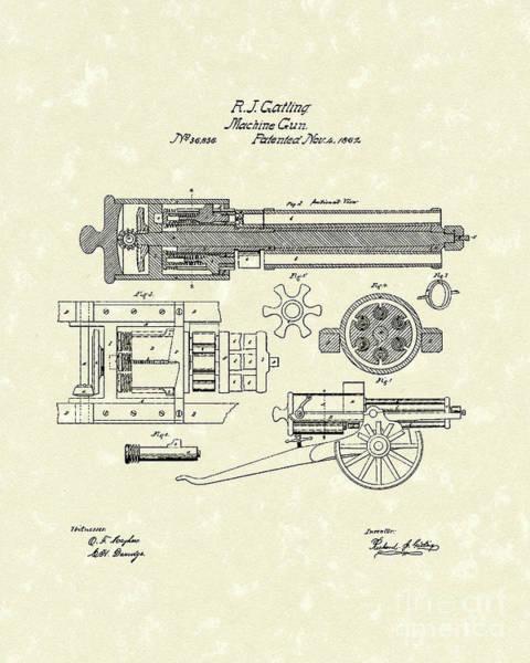 Drawing - Gatling Machine Gun 1862 Patent Art by Prior Art Design