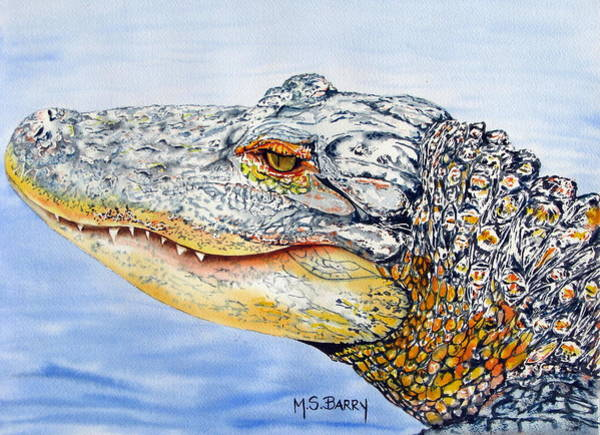 Wall Art - Painting - gator Alice by Maria Barry