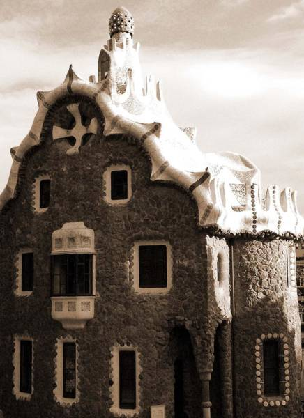 Photograph - Gaudi Building With White Roof by Donna Corless