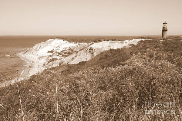Photograph - Gay Head Lighthouse With Aquinna Beach Cliffs - Sepia by Carol Groenen