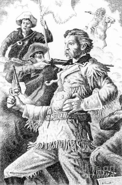 Drawing - General Custer's Last Stand by Gordon Punt