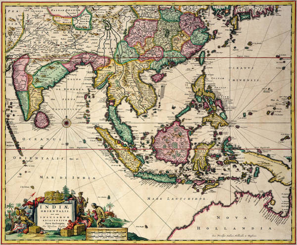 Mapping Drawing - General Map Extending From India And Ceylon To Northwestern Australia By Way Of Southern Japan by Nicolaes Visscher Claes Jansz
