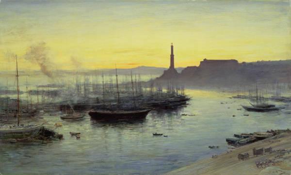 Sailboat Sunset Wall Art - Painting - Genoa by John MacWhirter