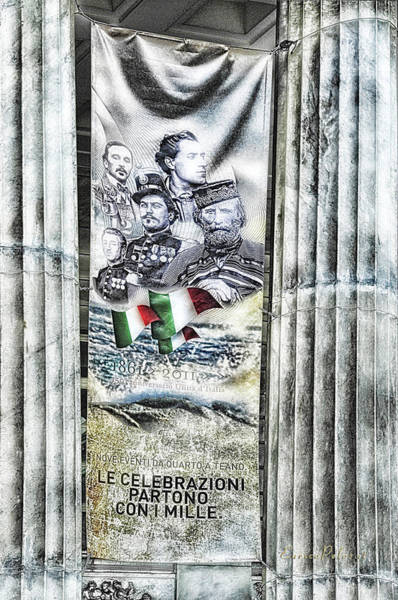 Mixed Media - Genova 150 Years Of Italy Famous Garibaldi Mameli Founders by Enrico Pelos