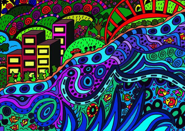 Wall Art - Drawing - Gentle Sea by Karen Elzinga