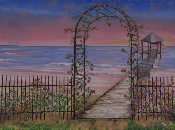 Gentle Trellis Of Roses Art Print