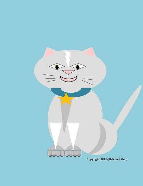 Dark Pink Drawing - Geo Smiley Cat by Maria Urso