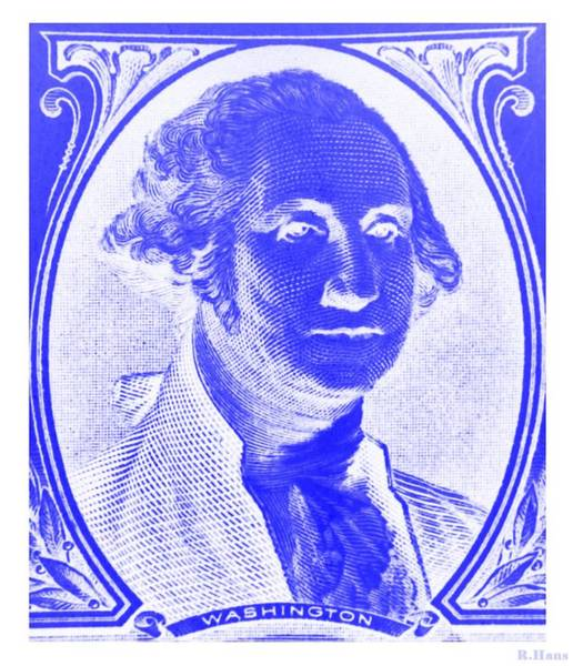 Photograph - George Washington In Blue Negative by Rob Hans