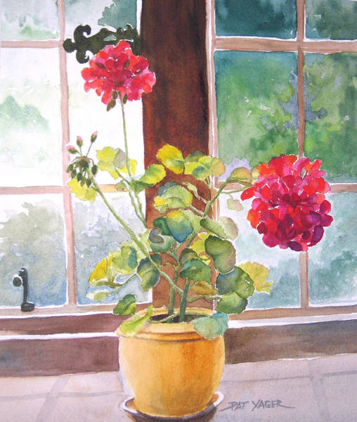 Wall Art - Painting - Geraniums At Gillthwaite Rigg by Pat Yager