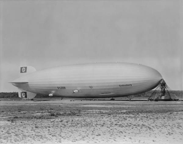 Lakehurst Photograph - German Airship Hindenburg Moored by Everett