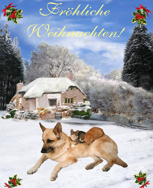 Holiday Cottage Mixed Media - German Shepherd Holiday German Christmas by Eric Kempson