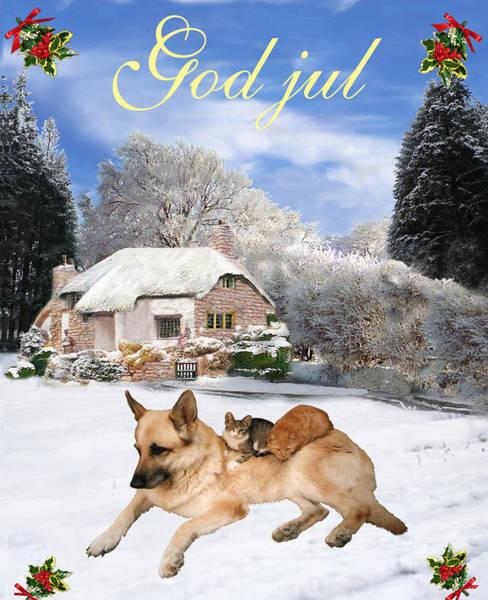 Holiday Cottage Mixed Media - German Shepherd Holiday Norwegian Christmas God Jul by Eric Kempson