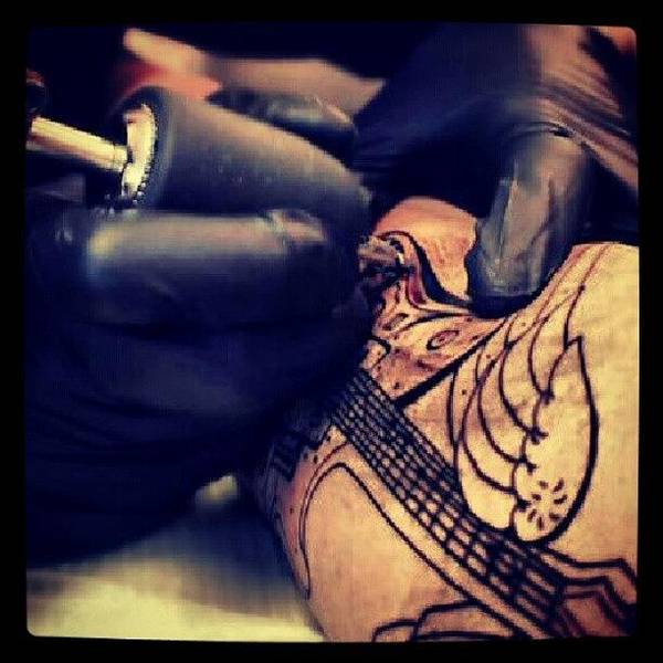 Steampunk Wall Art - Photograph - Getting Inked :) #inked #tattoo #girl by Oliver Parker