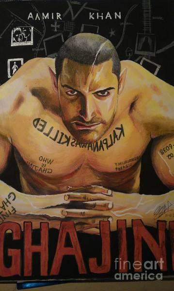 Bollywood Wall Art - Painting - Ghajini Aamir Khan by San Art Studio
