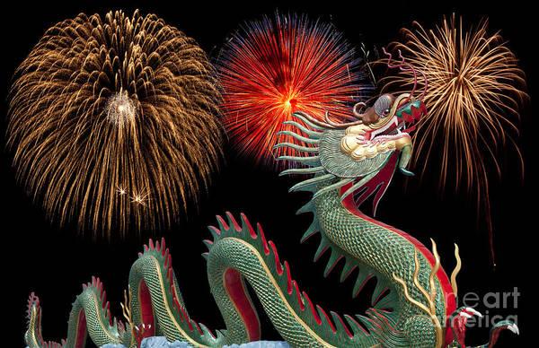 Chinese New Year Photograph - Giant Chinese Dragon At Wat Muang by Anek Suwannaphoom