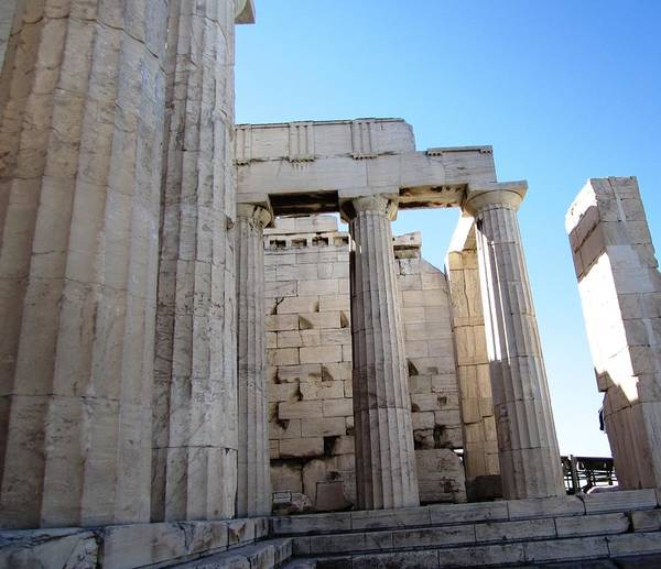 Photograph - Gigantic Acropolis Parthenon Architectural Columns II With The Sun Rising And Blue Sky Athens Greece by John Shiron