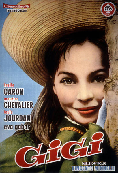 1958 Movies Photograph - Gigi, Leslie Caron, 1958, Poster Art by Everett