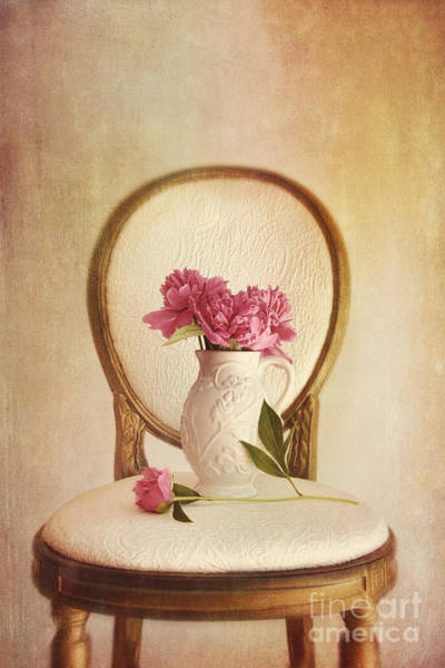 Photograph - Gilded Chair With Vase And Peony Flowers by Sandra Cunningham